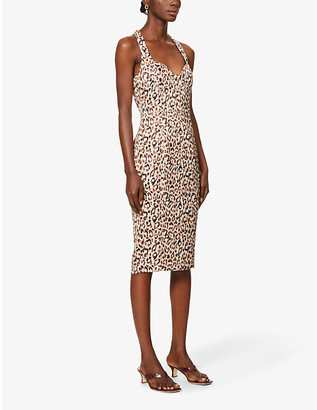 Lavish Alice Leopard-print satin-crepe midi dress