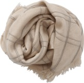 Brunello Cucinelli Plaid Monili Triangle Scarf