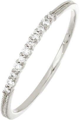 Bony Levy 18K White Gold Textured Milgrain Diamond Stackable Ring - 0.08 ctw
