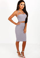Pink Boutique Bare Attraction Grey Ribbed Midi Skirt