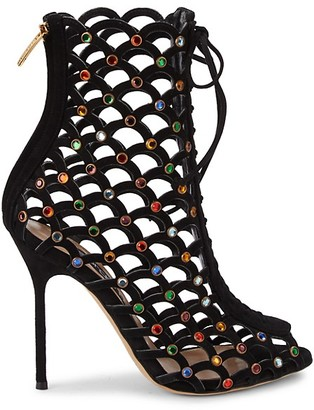 Sergio Rossi Embellished Perforated Suede Booties