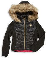 Michael Kors Girls 7-16 Faux Fur-Trimmed Contrast Coat