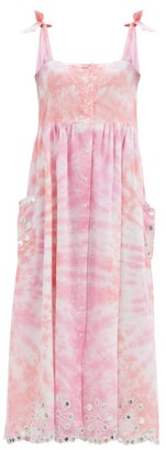 Juliet Dunn Floral-embroidered Tie-dyed Cotton Midi Dress - Pink White