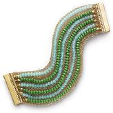 INC International Concepts Bracelet, Gold-Tone Blue and Green Bead Flex Bracelet