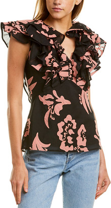 La Vie By Rebecca Taylor Amea Silk-Blend Top