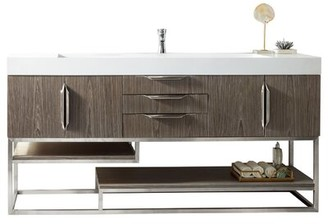 "Ash Mercury Row Winscombe 73"" Wall-Mounted Single Bathroom Vanity Set Mercury Row Base Finish Gray, Top Finish: Glossy White, Hardware Finish: Brushed Nickel"