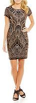 Jump Glitter Pattern T-Shirt Sheath Dress