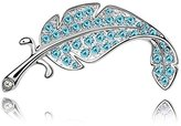 Miki&Co Silver Swarovski Elements Women's Crystal Feathers Brooch, with a Gift Box