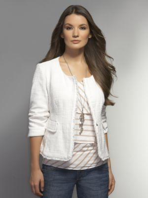 New York & Co. Fringe Trim Cotton Tweed Jacket