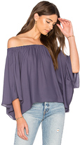 Krisa Off Shoulder Drape Top in Purple. - size L (also in S,XS)