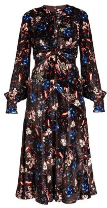 Erdem Carwen Tulip Meadow Print Velvet Dress - Womens - Burgundy Multi