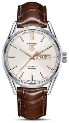 Tag Heuer Carrera Calibre 5 Stainless Steel Watch with Alligator Strap, 41mm
