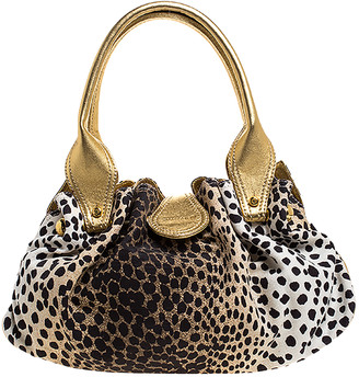 Roberto Cavalli Beige/Gold Leopard Print Canvas and Leather Satchel