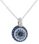 Small Evil Eye Pendant in White Gold with Diamonds and Blue Sapphires