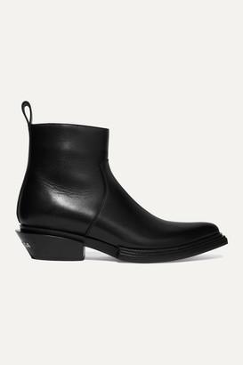 Balenciaga Santiag Logo-print Leather Ankle Boots - Black