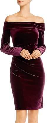 Eliza J Off-the-Shoulder Velvet Long Sleeve Dress