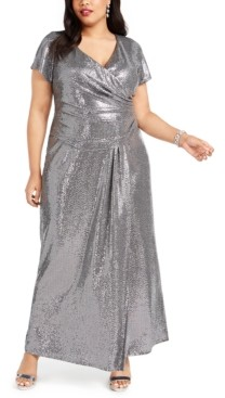 R & M Richards Plus Size Draped Sequined Gown
