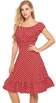 GEESENSS Women's Retro Polka Dot Ruffle Hem Fit And Flare Dresses