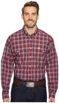 Cinch Long Sleeve Plain Weave Plaid Double Pocket Men's Long Sleeve Button Up