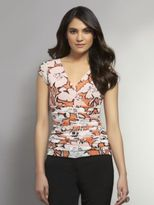 New York & Co. Floral Print Mesh Empire Top