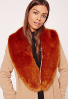 Missguided Faux Fur Stole Scarf Tan