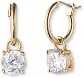 "Anne Klein Gold Update"" Gold-Tone and Crystal Hoop Drop Earrings"