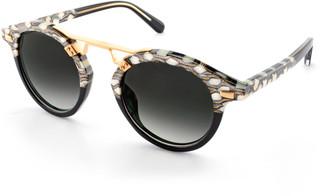 Krewe STL II Two-Tone Round Acetate Sunglasses, Black Pattern