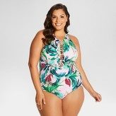 Beach Betty by Miracle Brands Women's Plus SizeControl Floral Print High Neck Ladder Stitch One Piece Swimsuit-Beach Betty (Juniors')