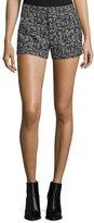 Alice + Olivia Kristie Slim-Fit Tweed Shorts, Black/White