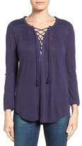 Lucky Brand Women's Lace-Up Peasant Top