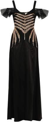 Temperley London Cold-shoulder Embellished Satin-crepe And Organza Gown