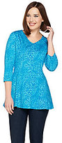 Denim & Co. As Is Animal Print 3/4 Sleeve Fit & Flare Tunic