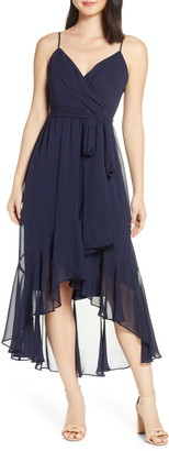 Eliza J High/Low Faux Wrap Chiffon Dress