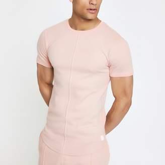 River Island Mens Pink muscle fit interlock T-shirt