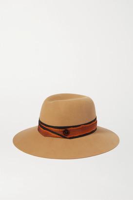 Maison Michel Virginie Grosgrain-trimmed Wool-felt Hat - Brown
