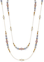 INC International Concepts Gold-Tone Pavé Multicolor Bead Long Necklace, Only at Macy's