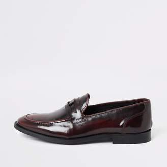 River Island Mens Dark Red leather loafers