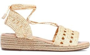Schutz Cutout Woven Straw Wedge Espadrille Sandals