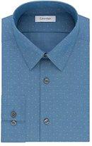 Calvin Klein Men's Non Iron Slim Fit Diamond Dobby Point Collar Dress Shirt