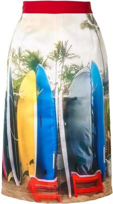 No.21 Surf-Print Pencil Skirt
