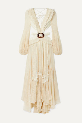 PatBO Cutout Fringed Cotton-blend Mesh And Stretch-jersey Maxi Dress - Cream