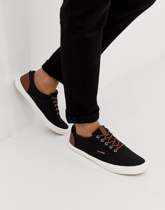 Jack and Jones canvas trainer in black