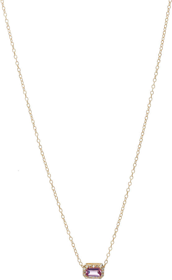 Alison Lou 14K Gold Pink Sapphire and Diamond Necklace