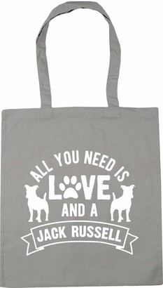 Hippowarehouse All you need is love and a Jack Russell Tote Shopping Gym Beach Bag 42cm x38cm 10 litres