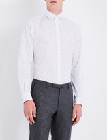 Duchamp Mens Grey Tailored-Fit Polka-Dot Pattern Shirt