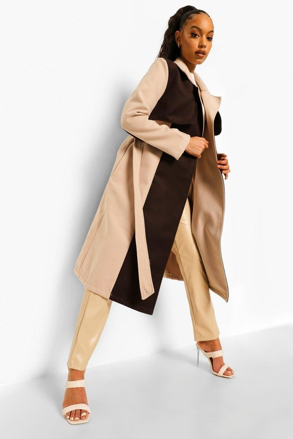 Thumbnail for your product : boohoo Colour Block Wool Look Trench Coat