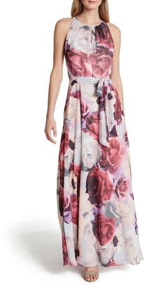 Tahari Floral Chiffon Maxi Dress