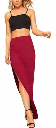 Candid Styles Womens Ruched Side Split Skirt Assymetric Long Maxi Gypsy Boho Skirt Plus 8-22