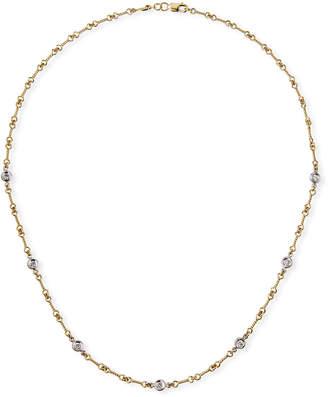 Roberto Coin Two-Tone 18k 7-Diamond Dog Bone Necklace