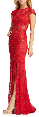 Mac Duggal Open-Back Cap-Sleeve Four-Way Stretch Lace Illusion Gown